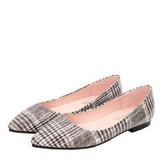 Frauen Microfaser Leder Flascher Absatz Flache Schuhe Geschlossene Zehe Schuhe