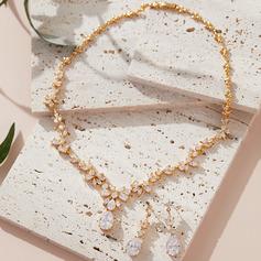Ladies' Pretty Copper/Cubic Zirconia Cubic Zirconia Jewelry Sets For Bride