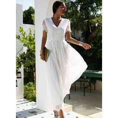 Lace Solid A-line Short Sleeves Maxi Elegant Skater Dresses (294253162)
