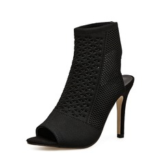 Mulheres Tecido Salto agulha Bombas Botas Peep toe Sapatos abertos Bota no tornozelo com Outros sapatos