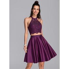 Corte A Decote redondo Curto/Mini Cetim Vestido de boas vindas com Beading lantejoulas