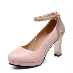 Women's Leatherette Chunky Heel Pumps Closed Toe With Sparkling Glitter Buckle shoes (085124731)