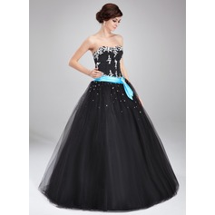 Ball-Gown Sweetheart Floor-Length Tulle Quinceanera Dress With Sash Beading Appliques Lace