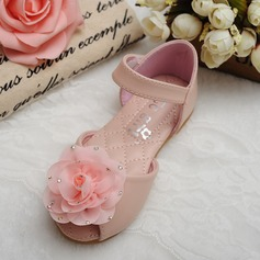 Girl's Peep Toe Microfiber Leather Flat Heel Flats Flower Girl Shoes With Rhinestone Velcro Flower (207126977)