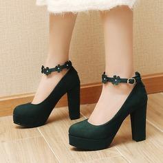 Donna Camoscio Tacco spesso Stiletto Piattaforma con Fibbia Fiore scarpe