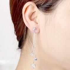 Heart Shaped Zircon Copper With Zircon Women's Fashion Earrings (Sold in a single piece)
