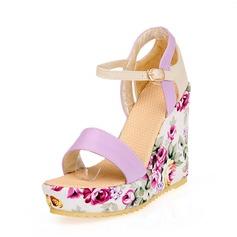 Donna Similpelle Zeppe Stiletto Zeppe con Fibbia scarpe