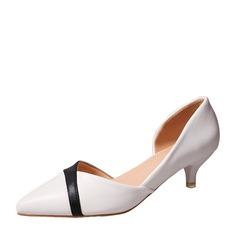 Frauen PU Stöckel Absatz Absatzschuhe Geschlossene Zehe mit Zweiteiliger Stoff Schuhe