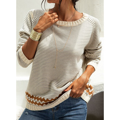 Round Neck Casual Striped Chunky knit Sweaters (1002250144)