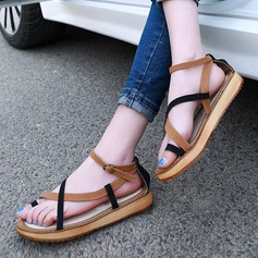 Women's Leatherette Flat Heel Sandals Peep Toe With Buckle Hollow-out shoes