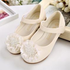 Fille de bout rond similicuir talon plat Chaussures plates avec Brodé Velcro