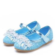 tytön Round Toe Suljettu toe Sparkling Glitter Flat Heel Matalakorkoiset Flower Girl Kengät jossa Tarranauha Kristalli