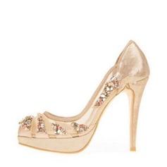 Women's Mesh Stiletto Heel Closed Toe Platform Beach Wedding Shoes With Rhinestone