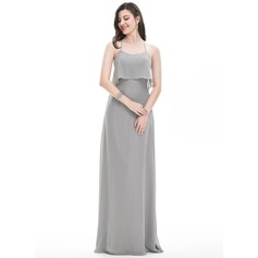 A-Line/Princess Scoop Neck Floor-Length Chiffon Prom Dress