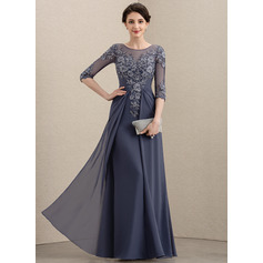 A-Line Scoop Neck Floor-Length Chiffon Lace Mother of the Bride Dress (008195411)