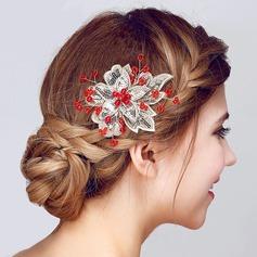 Flor em forma Pérolas de imitação/Renda/Lantejoulas Flores & penas