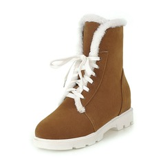 Women's Suede Low Heel Closed Toe Boots Ankle Boots Snow Boots With Lace-up Fur shoes