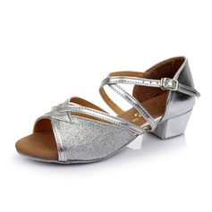 Kids' Leatherette Sparkling Glitter Heels Sandals Latin With Ankle Strap Dance Shoes