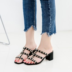 Women's Leatherette Microfiber Leather Chunky Heel Sandals Peep Toe With Rivet shoes