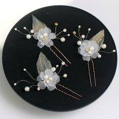 En forme de fleur Cuivre/Ruban épingles à cheveux avec Perle Vénitienne (Lot de 6)