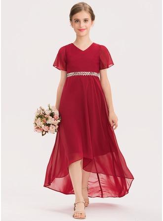 A-Linie V-Ausschnitt Asymmetrisch Chiffon Kleid für junge Brautjungfern mit Perlstickerei