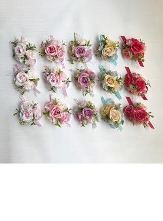 Vapaamuotoinen Silk pellava Ranne kukkakimppu/Boutonniere - Ranne kukkakimppu/Boutonniere