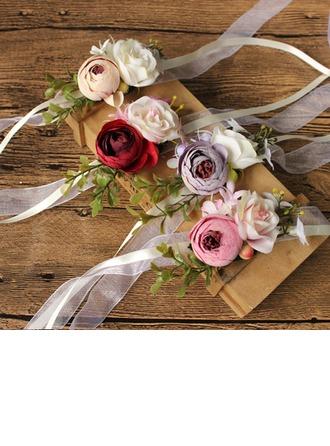 Tyttömäinen Silk pellava Ranne kukkakimppu/Boutonniere - Ranne kukkakimppu/Boutonniere