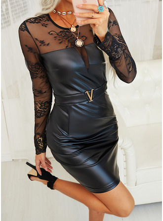 Kant Solide Bodycon Lange Mouwen Mini Zwart jurkje Party Elegant ()