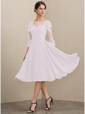 Corte A Decote redondo Coquetel Tecido de seda Renda Vestido para a mãe da noiva com Beading lantejoulas