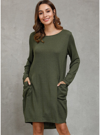 Knee Length Round Neck Cotton Solid Long Sleeves Fashion Dresses