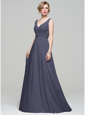 A-Line V-neck Floor-Length Chiffon Bridesmaid Dress With Ruffle Lace Beading Sequins