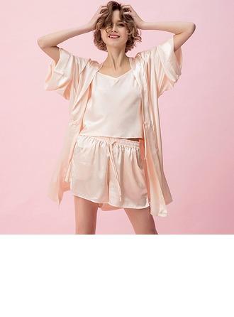 viskon Elyaf Klasik Kadınsı Sleepwear Setleri