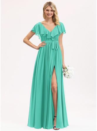 A-Line V-neck Floor-Length Chiffon Evening Dress With Bow(s) Split Front Cascading Ruffles