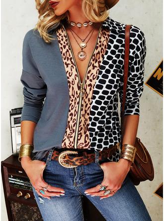 Leopard Tisk Klopa Dlouhé rukávy Neformální Trikové halenky
