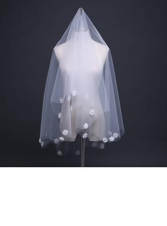 1 couche Bord de coupe Voile de mariée longueur coude avec Fleur en satin