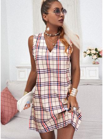Kariert Etuikleider Ärmellos Mini Lässige Kleidung Trägerhemd Modekleider
