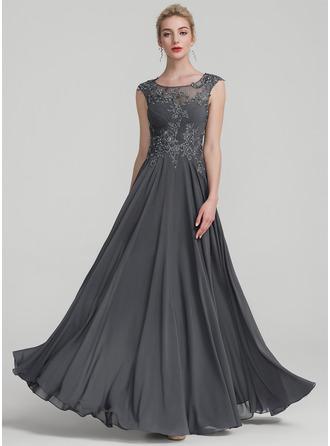 A-Linie/Princess-Linie U-Ausschnitt Bodenlang Chiffon Abendkleid mit Rüschen Perlstickerei Pailletten