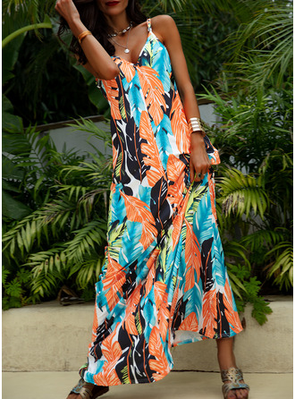 Print Shift Sleeveless Maxi Casual Vacation Type Dresses