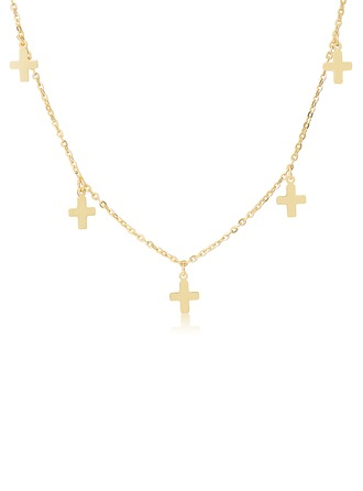 18k Gold Plated Silver Religious Cross Choker Necklace -