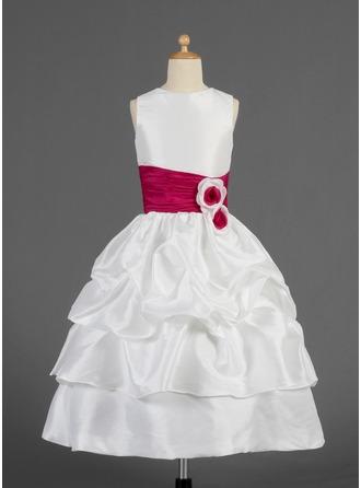 Corte A/Princesa Hasta la tibia Vestidos de Niña Florista - Tafetán Sin mangas Escote redondo con Volantes/Fajas/Flores/La Recogida Falda