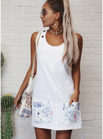 フローラル 印刷 シフトドレス ノースリーブ ミニ カジュアル タンク ファッションドレス