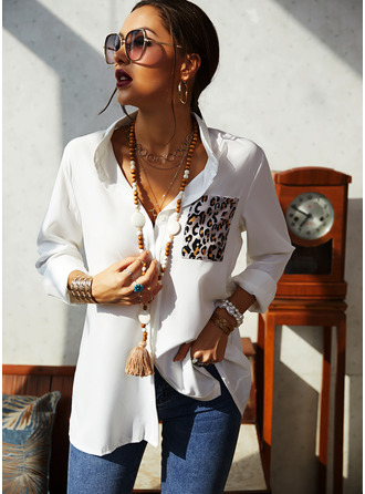 Leopard Lapel Long Sleeves Button Up Casual Shirt Blouses (1003254140)