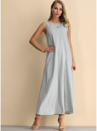 Striped Shift Sleeveless Midi Casual Tank Dresses