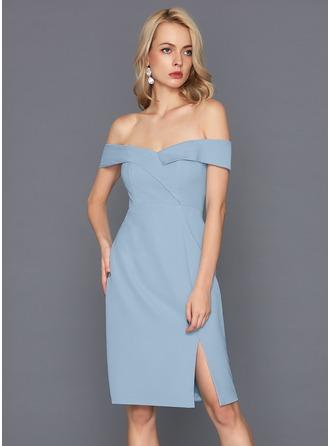 Sheath/Column Off-the-Shoulder Knee-Length Satin Cocktail Dress With Split Front