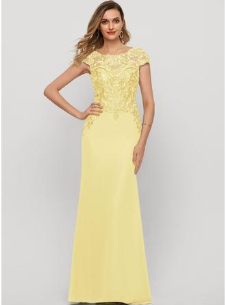 Sheath/Column Scoop Neck Floor-Length Chiffon Evening Dress With Sequins