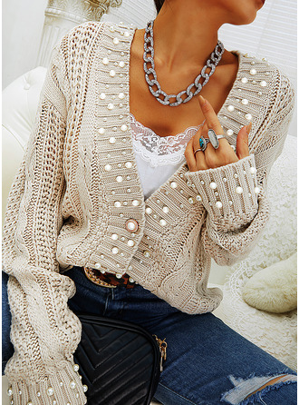 V-Neck Casual Beaded Solid Cable-knit Sweaters (1002255444)