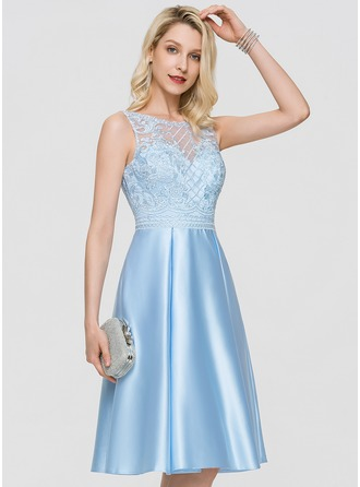 A-Line Scoop Neck Knee-Length Satin Cocktail Dress With Sequins Pockets