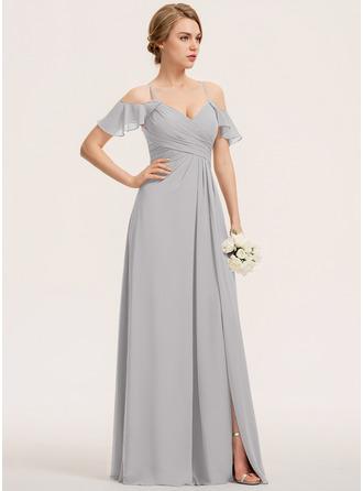 Трапеция V-образный Длина до пола шифон Платье Подружки Невесты с Разрез спереди Ниспадающие оборки