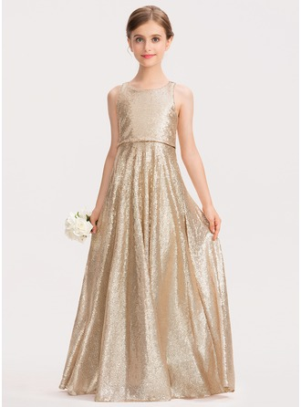 A-Line Scoop Neck Floor-Length Sequined Junior Bridesmaid Dress