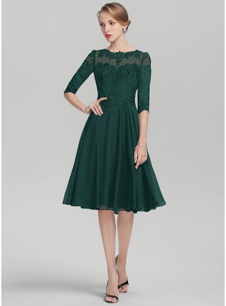 A-Linie U-Ausschnitt Knielang Chiffon Spitze Kleid für die Brautmutter mit Pailletten